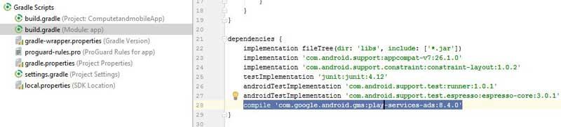 admob-dependency-in-build.gradle