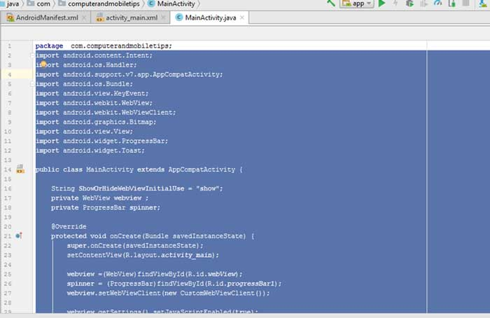 Convert Website To Android Application Using Android Studio